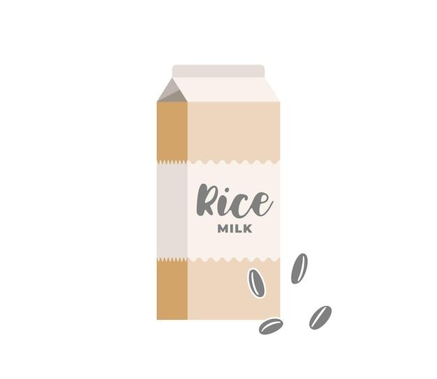 Boîte en carton de lait de riz. emballage de produit de boisson végétarienne sans lactose. emballage en carton de boisson laitière écologique à grains végétaliens sains. illustration eps vecteur plat isolé