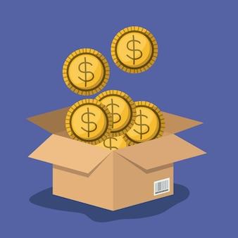 Boîte en carton ouverte avec de nombreuses pièces de monnaie