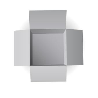 Boîte en carton ouverte, vue aérienne