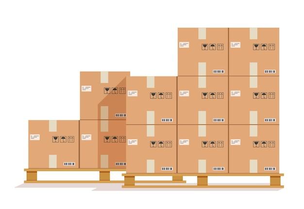 Boîte en carton sur palettes en bois