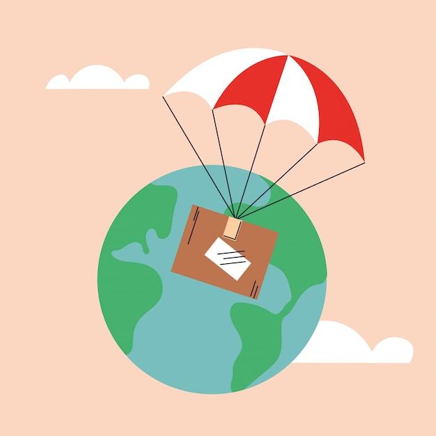 Boîte en carton avec parachute, livrée par avion