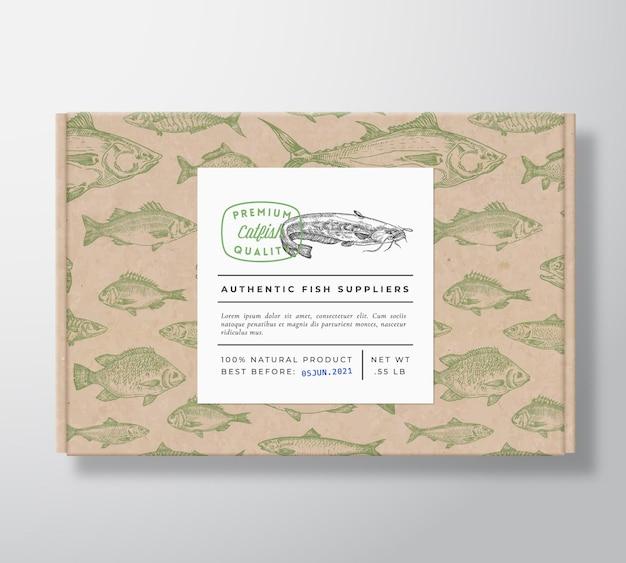 Boîte en carton réaliste motif poisson