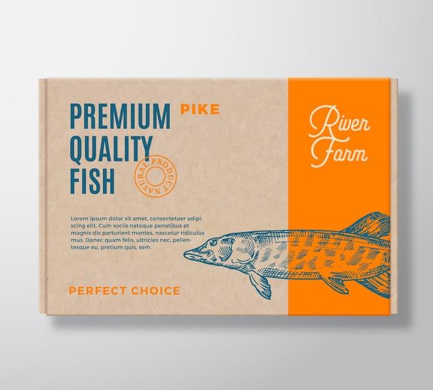 Boîte en carton réaliste de poisson de qualité supérieure. maquette d'emballage