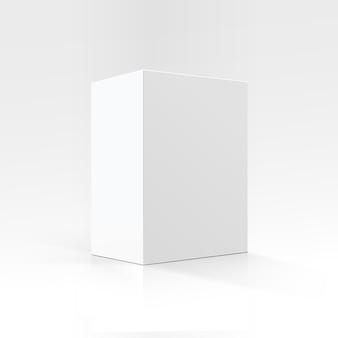 Boîte en carton rectangulaire blanche en perspective