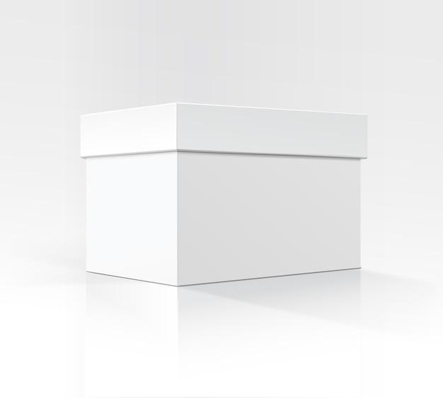 Boîte de carton rectangulaire horizontal blanc blanc de vecteur en perspective pour la conception de l'emballage
