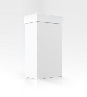 Boîte de carton rectangulaire vertical blanc blanc de vecteur en perspective pour la conception de l'emballage