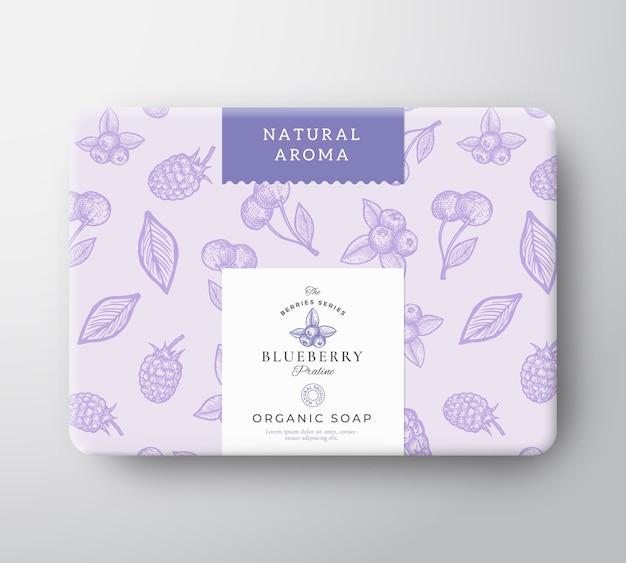 Boîte en carton de savon de bain aux myrtilles. maquette de conteneur en papier emballé