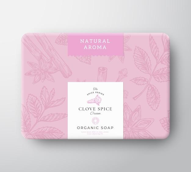 Boîte en carton de savon de girofle. emballage de conteneur en papier enveloppé