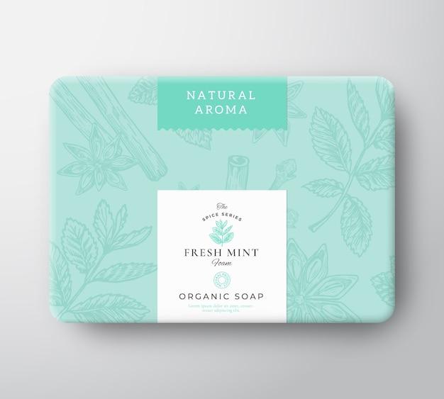 Boîte en carton de savon à la menthe. emballage de conteneur en papier enveloppé