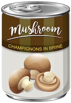 Boîte de champignons champignons en saumure