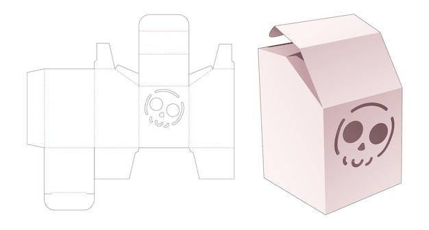 Boîte chanfreinée avec gabarit de découpe de crâne au pochoir
