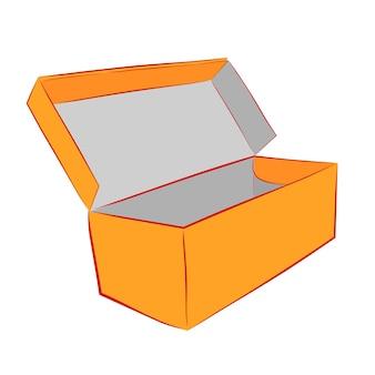 Boîte à chaussures orange simple main dessiner croquis vecteur maquette, isolé sur blanc