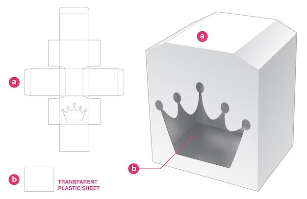 Boîte de coffre et fenêtre de couronne avec gabarit de découpe en feuille de plastique transparent