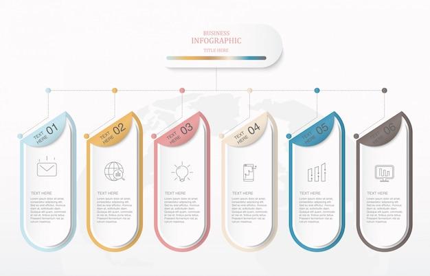 Boîte colorée et icônes infographiques.