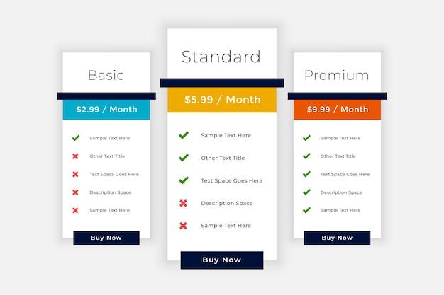 Boîte de comparaison des éléments du tableau de tarification web