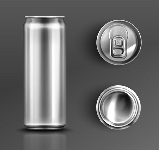 Boîte de conserve avec ensemble de vues avant, de dessus et de dessous à clé ouverte.