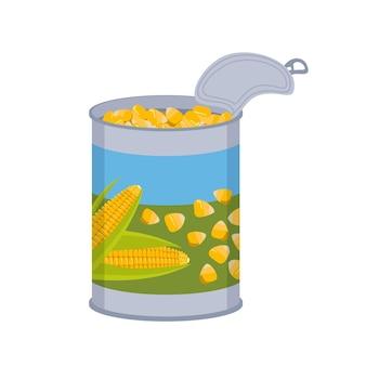 Boîte de conserve avec des grains de maïs. emballage en étain