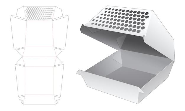Boîte de conteneur de restauration rapide avec gabarit de découpe de points au pochoir