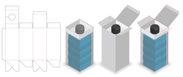 Boîte cosmétique avec tube de bouteille cou lock dieline