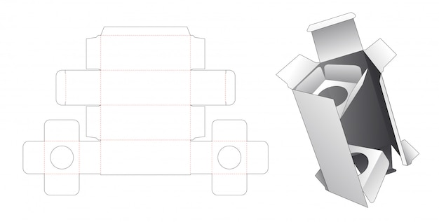 Boîte à cosmétiques avec 2 supports d'insertion gabarit découpé