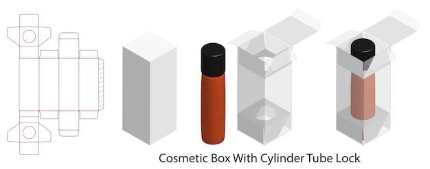 Boîte à cosmétiques avec bouteille tube verrouillable dieline