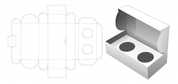 Boîte à cosmétiques avec gabarit découpé à insertion ronde