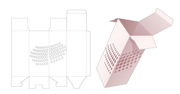 Boîte à cosmétiques avec gabarit de découpe de points de demi-teintes au pochoir