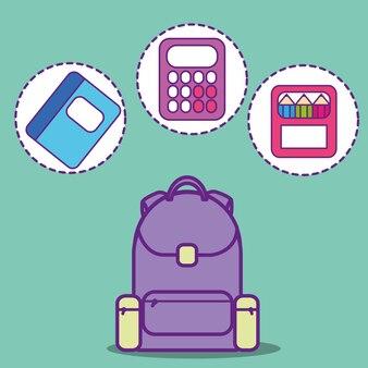Boîte à couleurs calculatrice sac à dos scolaire et livre