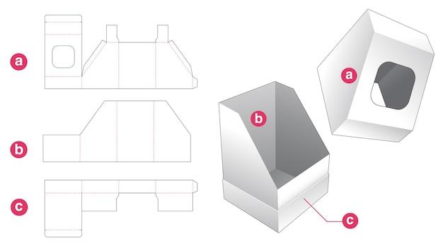 Boîte et couvercle inclinés avec gabarit de découpe de fenêtre