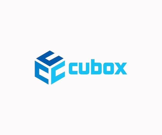 Boîte de cube avec le logo de la lettre c