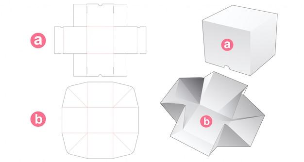 Boîte de cube sans colle et modèle découpé avec couvercle