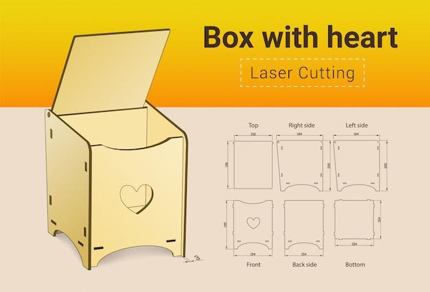 Boîte de découpe laser avec coeur