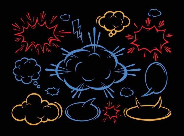 Boîte de dialogue comique nuage vide, texte de l'espace sur fond noir