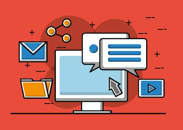 Boîte de dialogue de conversation informatique partage de courrier électronique