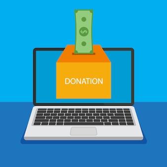 Boîte de don sur un écran d'ordinateur portable. faire un don, donner de l'argent en ligne. illustration.