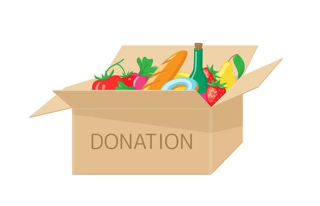 Boîte De Don Avec De La Nourriture. Aide Caritative Pour Les Sans-abri Et La Faim Vecteur Premium