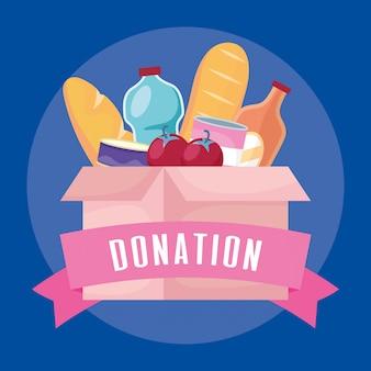 Boîte de dons de charité avec épicerie