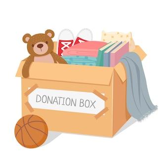 Boîte de dons. charité pour les enfants pauvres et les sans-abri. boîte remplie de jouets, de livres et de vêtements. concept de vecteur de soins sociaux et de générosité. illustration de charité et de don, faire du bénévolat dans une boîte