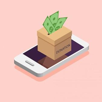 Boîte de dons dans le téléphone. faire un don, donner de l'argent en ligne. illustration dans un style isométrique.