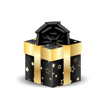 Boîte d'emballage 3d carrée noire avec de l'or