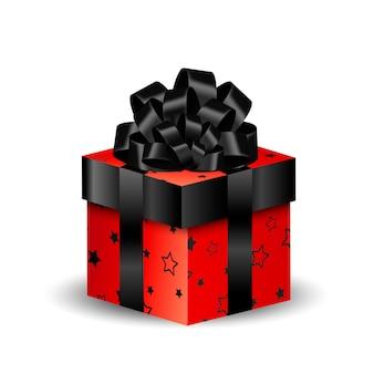 Boîte d'emballage 3d carrée noire et rouge