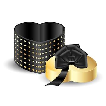 Boîte d'emballage 3d noire avec or