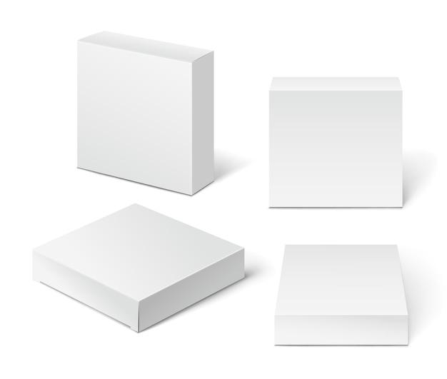 Boîte d'emballage en carton blanc. illustration isolée sur fond blanc.