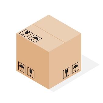 Boîte d'emballage en carton fermé marron
