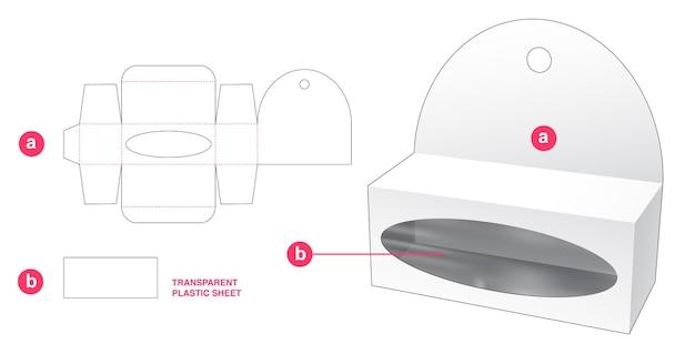 Boîte d'emballage courte suspendue avec gabarit de découpe en feuille de plastique transparent