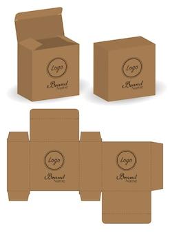 Boîte d'emballage die cut avec 3d maquette
