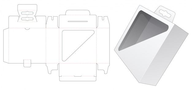 Boîte d'emballage avec fenêtre d'affichage triangulaire et gabarit de découpe découpée