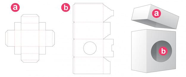 Boîte d'emballage avec fenêtre circulaire et couvercle modèle de découpe