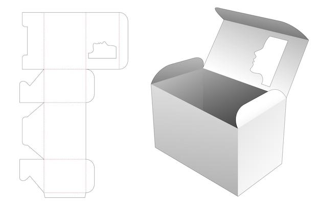 Boîte d'emballage avec fenêtre en forme de visage de femme sur le dessus du modèle de découpe.