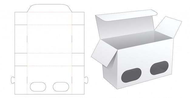 Boîte d'emballage avec gabarit découpé à 2 fenêtres